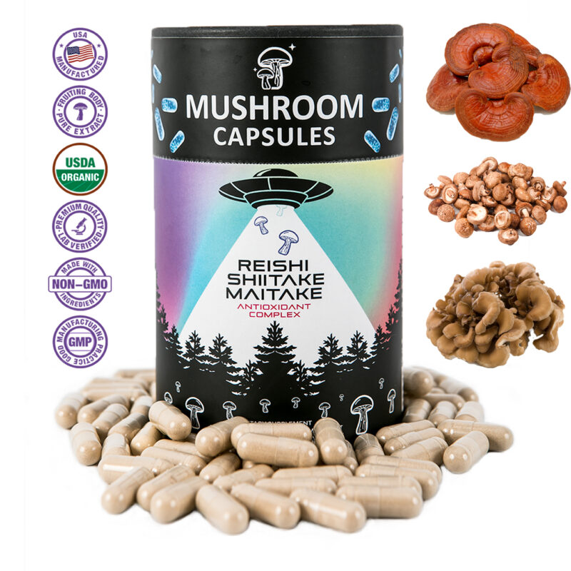Medicinal mushrooms hand harvested; 100% fruiting body grown naturally without genetic engineering.